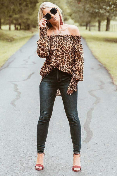 Off Shoulder Long Sleeve T Shirt - LEOPARDFAM