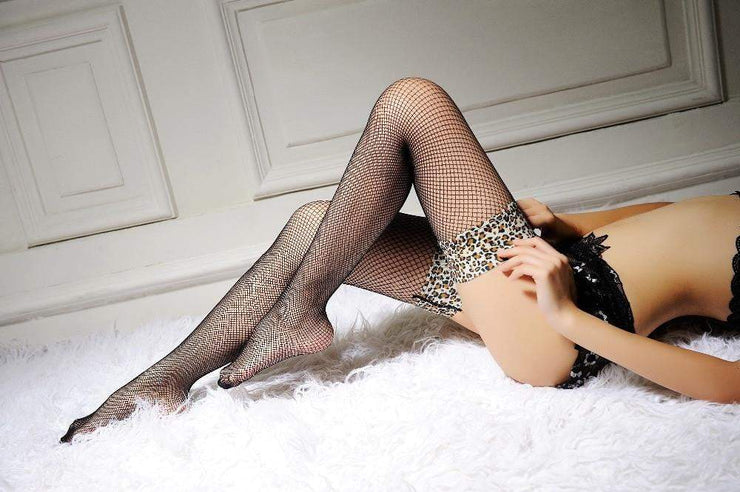 Over Knee Hollow Out Mesh Leopard High Stockings - LEOPARDFAM