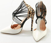 Pointed Toe White-leopard Pumps - LEOPARDFAMHeel