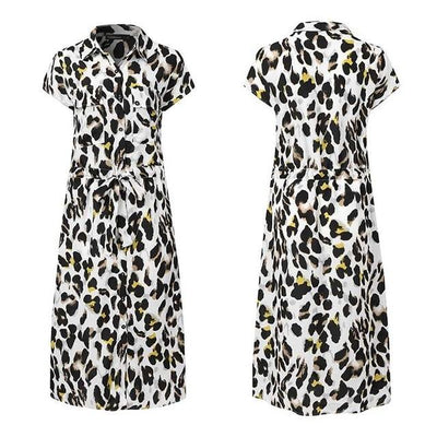 Short Sleeve Casual Loose Leopard Print Dress - LEOPARDFAM