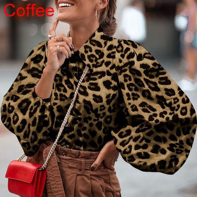 Spring Long Lantern Sleeve Blouse - LEOPARDFAM