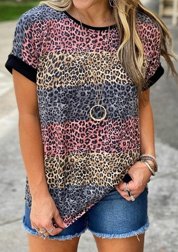Striped Short Sleeve Multi Colored Tops Leopard T-shirt - LEOPARDFAM