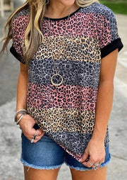 Striped Short Sleeve Tops Leopard T-shirt - LEOPARDFAM