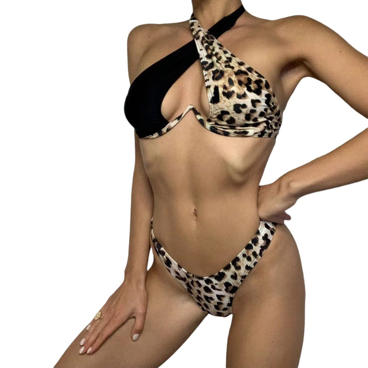 Summer Leopard Print Lace-up Swimsuit Two-piece Suit Set - LEOPARDFAM