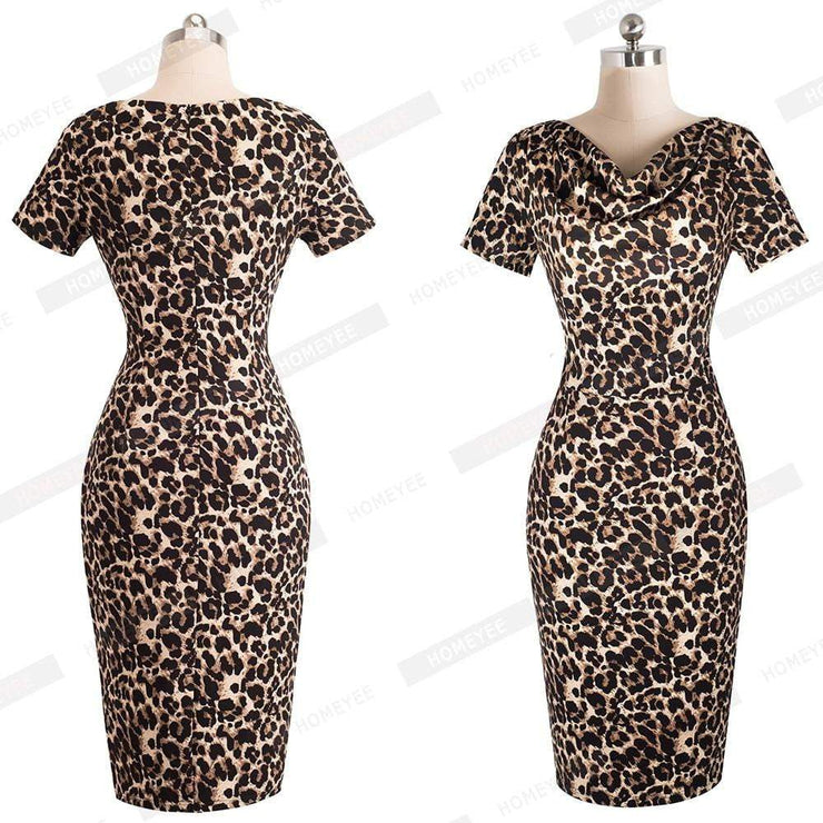 Summer Party Short Sleeve Dress - LEOPARDFAM