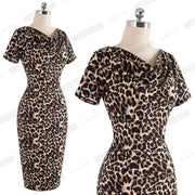 Summer Party Short Sleeve Leopard Dress - LEOPARDFAM