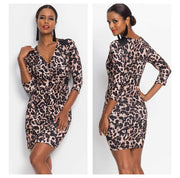 Vintage Leopard Printed V Neck Long Sleeve Dress - LEOPARDFAM