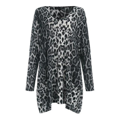 Vintage Long Sleeve Leopard Print V-Neck Tunic - LEOPARDFAM
