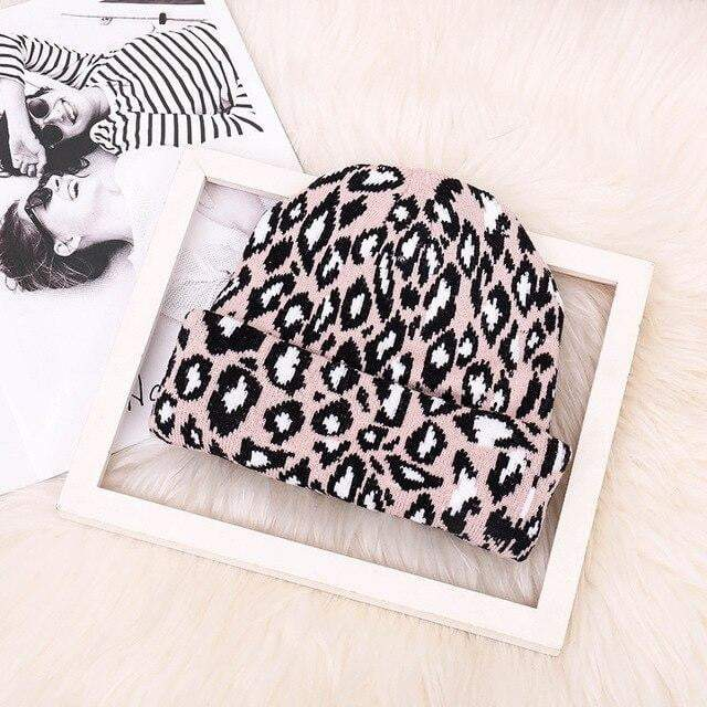 Cute Leopard Print Lady Wool Knitted Hat - LEOPARDFAM