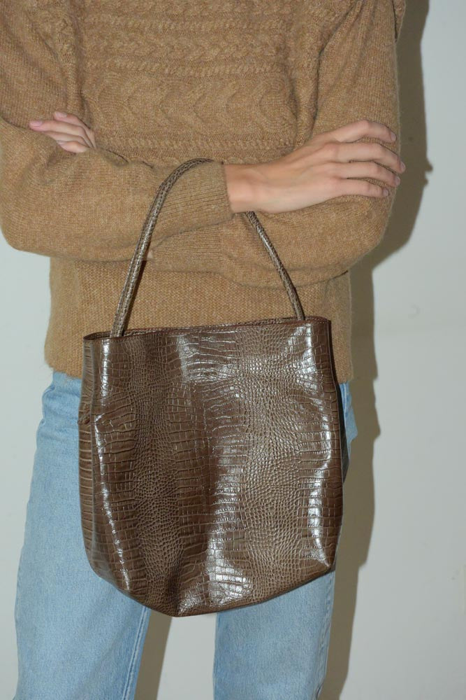 Jill Bag | Croc Embossed Brown