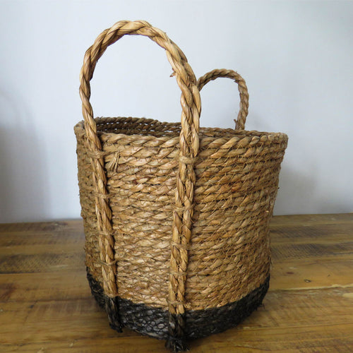 Dyed Black Bottom Basket with Grass Handles