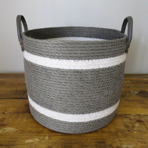 Two-Striped Grey Basket with Leather Handles