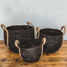 Load image into Gallery viewer, Black Basket with Hemp Handle