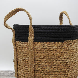 Black Cotton Rope Top with Grass Bottom and Hemp Handle