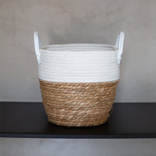 Load image into Gallery viewer, White Two-tone Basket with Leather Handles
