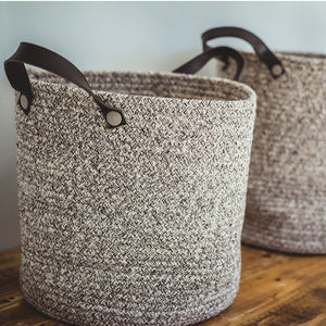 Coffee Cotton Basket with Faux Leather Handles