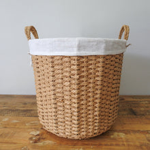 Load image into Gallery viewer, Grass Woven Wire Basket with Hemp Fabric Inner