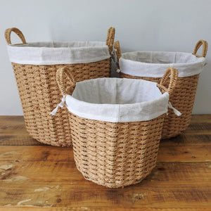 Grass Woven Wire Basket with Hemp Fabric Inner
