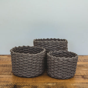 Grey Flower Baskets