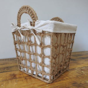 Square Hemp Tied Wire Basket with Hemp Fabric Inner