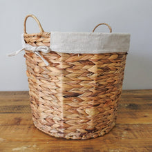 Load image into Gallery viewer, Hyacinth Woven Wire Basket with Hemp Fabric Inner