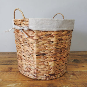 Hyacinth Woven Wire Basket with Hemp Fabric Inner