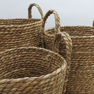 Natural Grass Basket with Woven Grass Handle