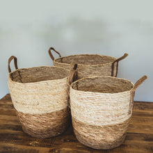 Load image into Gallery viewer, Natural Two-tone Basket with Hemp Handles