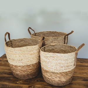 Natural Two-tone Basket with Hemp Handles