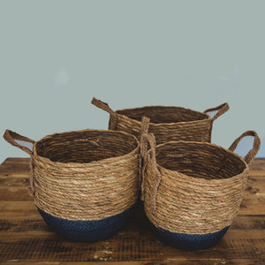 Natural and Blue Bottom Basket with Hemp Handle