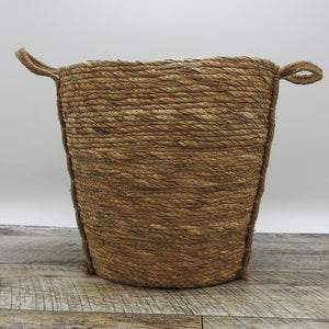 Oval Natural Grass Woven Basket with Grass Handle