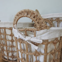 Load image into Gallery viewer, Hemp Tied Wire Basket with Hemp Fabric Inner