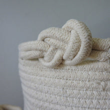 Load image into Gallery viewer, White Two-tone Basket with Knot Handle