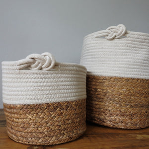 White Two-tone Basket with Knot Handle