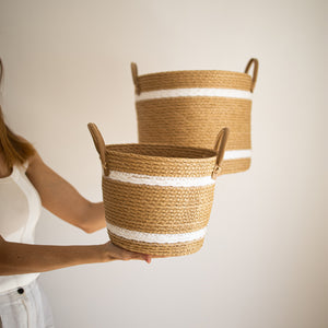 Two-Striped Natural Basket with Leather Handles