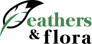 Feathers & Flora Logo, feather and leaf combined icon with text