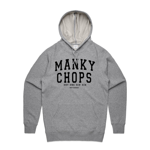 MANKYCHOPS STD ISSUE HOODIE BLK ON GREY