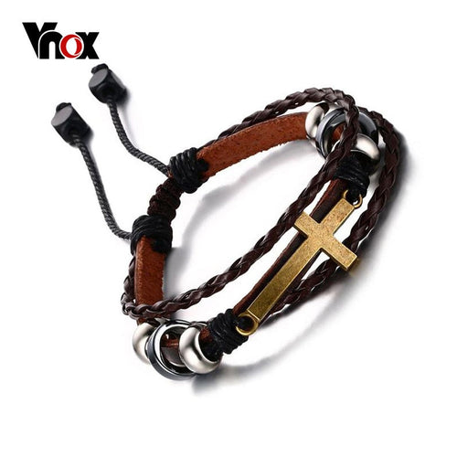 Vnox Bohemia Cross Leather Bracelet