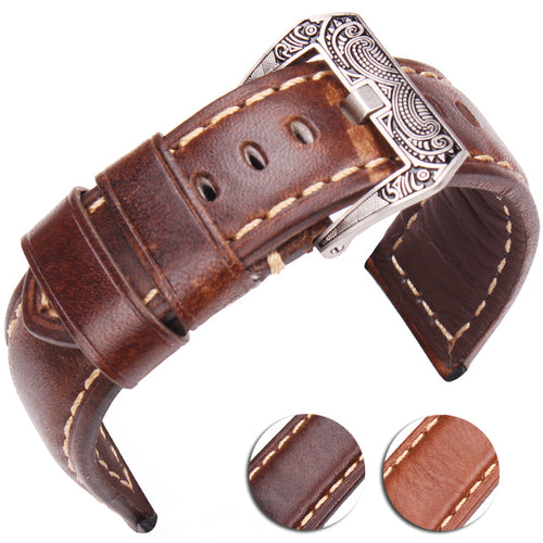 Handmade Steel buckle leather strap
