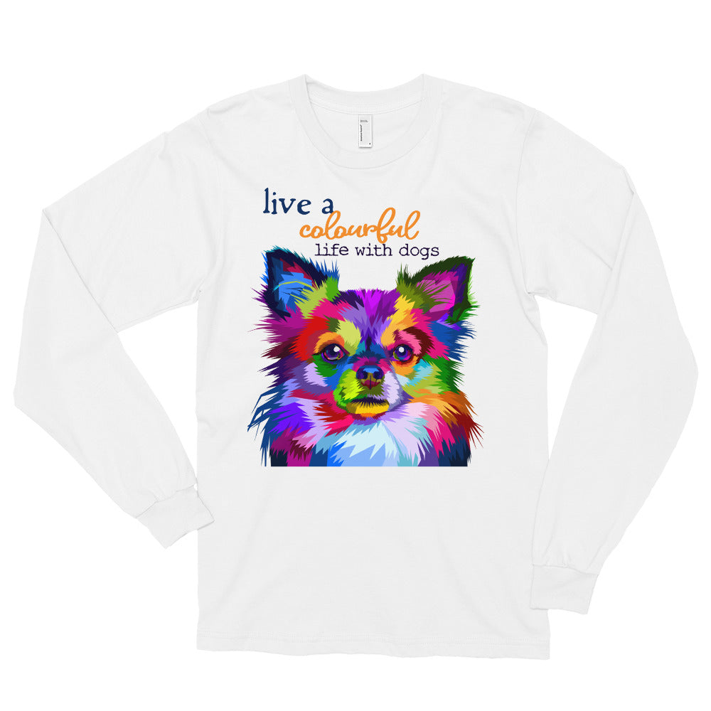 Colourful life with dogs long sleeve t-shirt
