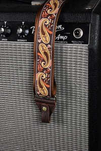 Souldier Paisley Gold/Orange on Brown Banjo Strap