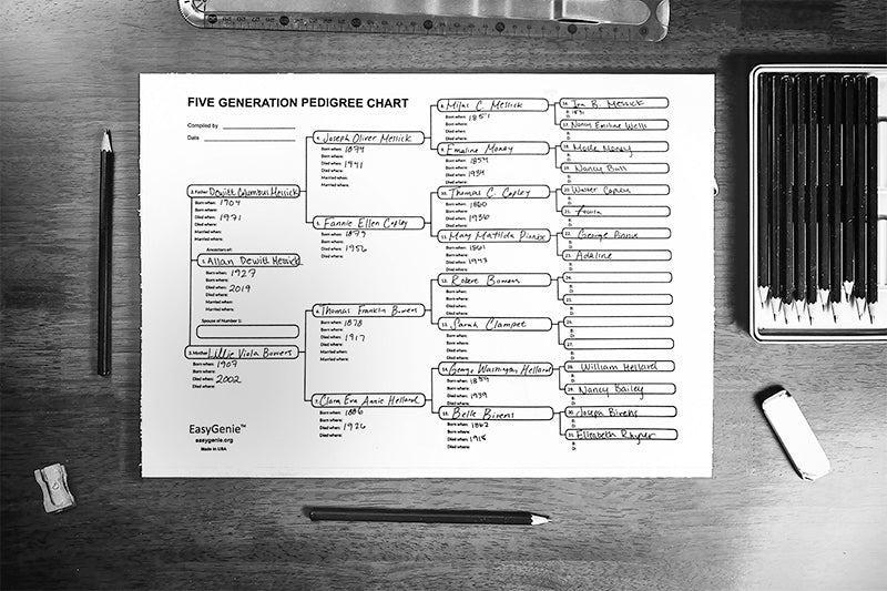 Genealogy gift idea: filled-in genealogy charts for non-genealogists