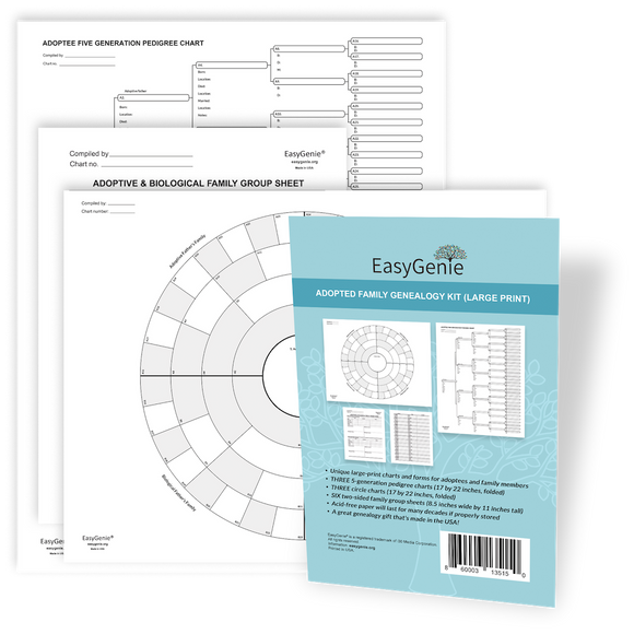 NEW: Adopted Family Genealogy Kit (12 Large Print Sheets, Instructions Included)