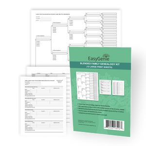 Blended Family Genealogy Kit with Multiple Spouses (12 Large Print Sheets)