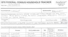 Load image into Gallery viewer, 1870 Federal Census Household Tracker (7 Sheets)