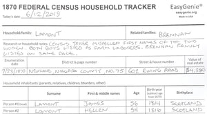 1870 Federal Census Household Tracker (7 Sheets)