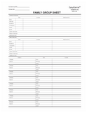 EasyGenie Blank Two-Sided Family Group Sheets for Genealogy (40 sheets)