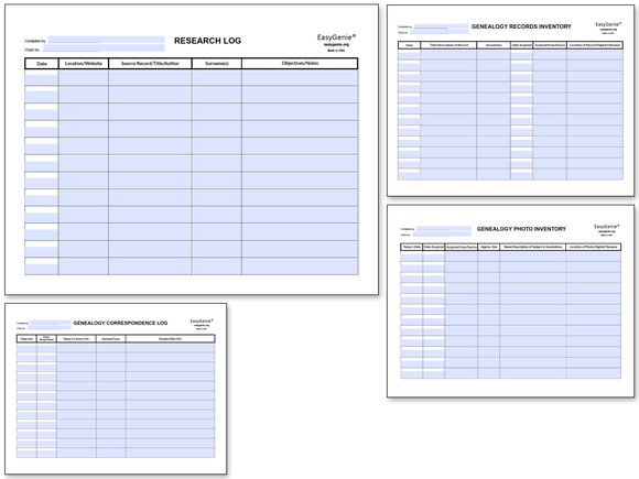 NEW: Genealogy Inventory & Records Fillable PDF Set (4 Forms)