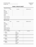 LARGE PRINT Two-Sided Family Group Sheets (30 Sheets)