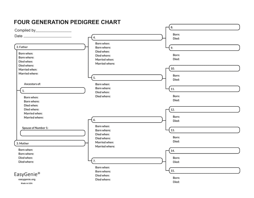 LARGE PRINT Four Generation Pedigree Charts for Genealogists (7-pack)